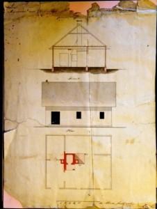 Rysunek projektu domku włościańskiego                           Fragment listu Kazimierza Kobylińskiego adresowanego do  wykonany prawdopodobnie                                                  starszego brata Tomasza.1 przez Kazimierza Kobylińskiego.