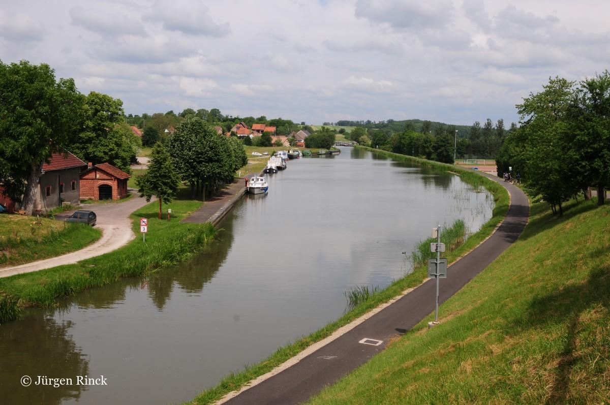 Ein großer Kanalhafen, umgeben von Bäumen und Urbaität.