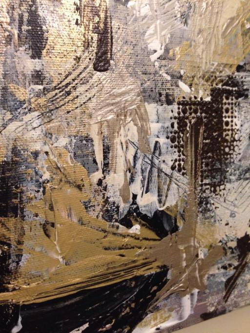 Detail of Junkyard Series mixed media acrylic