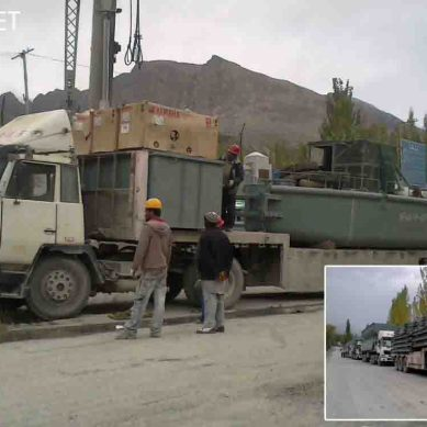 Truck loads of construction machinery from China reach Gojal Valley