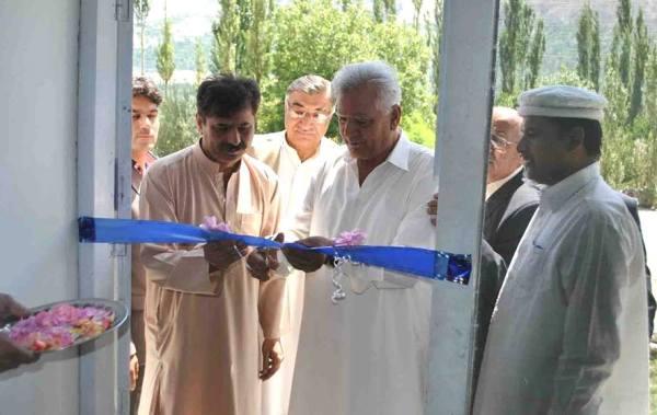 Wazir Baig, Speaker GBLA cuts the ribbon to inaugurate the Gems Center in Aliabad, Hunza.