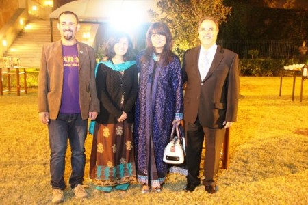 Mirza and Samina posing with guests at the reception. Photo: Suhail Ahmed
