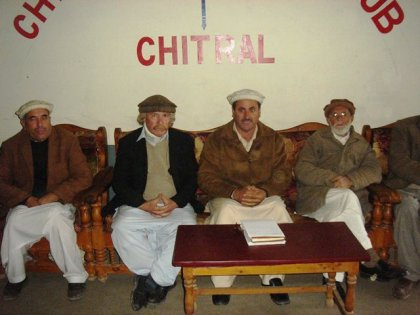 Locals addressing a press conference in Chitral