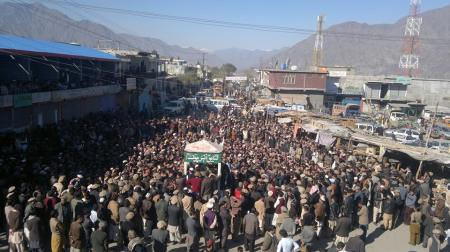 Chilas: Thousands of people protesting at Siddiqe-e-Akbar Chowk