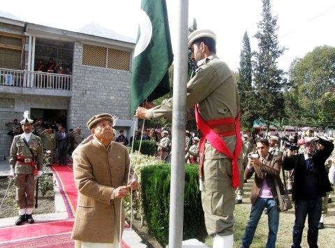 Hoisting the national flag