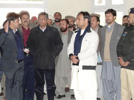 Chief Secretary talking to media persons during his recent visit of Chilas. Photo: Shahab Ghauri