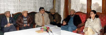 Dr. Abdul Rehbar addressing a press conference in Gilgit in which he announced the Medical Association's protest plan