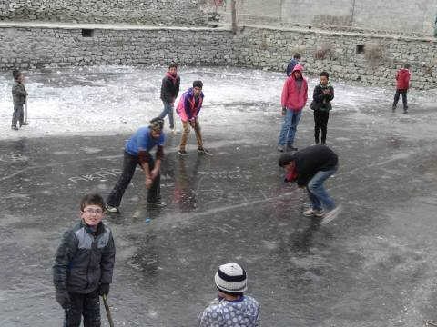 The game is being played on top of a frozen lake in Altit village of Hunza