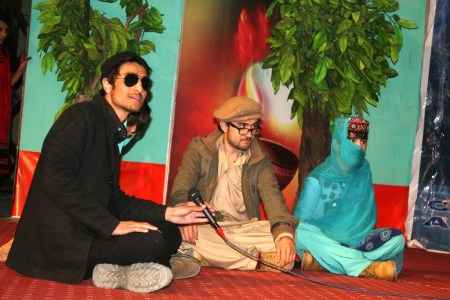 Artists from Hussaini village presenting a skit