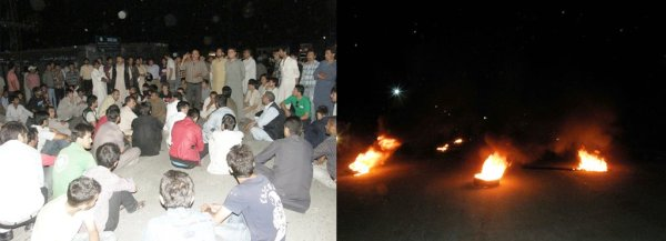 Zulfiqarabad: Protesters lit tyres and blocked the road