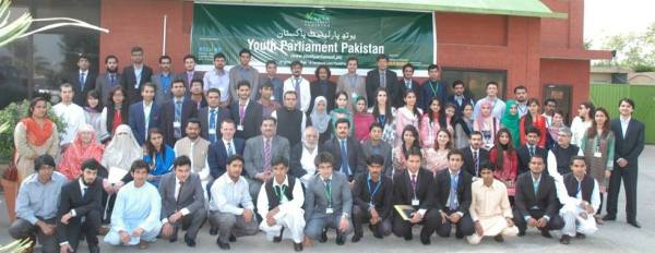 Members of the sixth parliament posing with guests in Islamabad