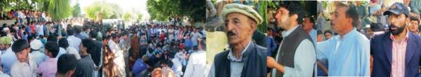 The protesters demanded action against the murderers of two policemen whose bodies were found in a pasture
