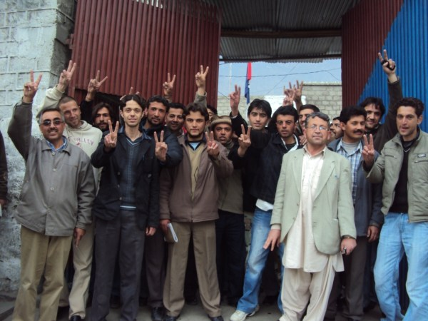 The released youth after being released from police station in Gilgit. File Photo (26 February 2010)