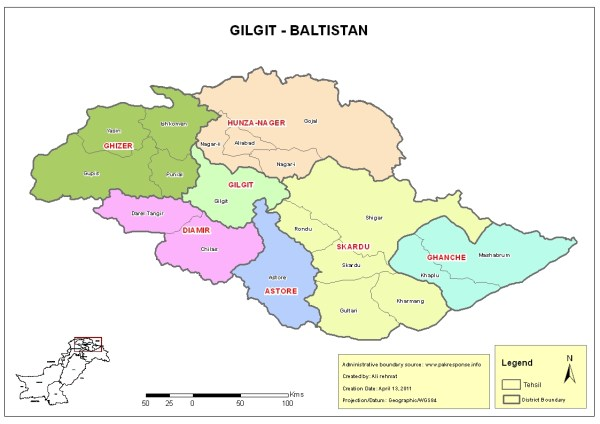 The administrative divisions in Gilgit-Baltistan