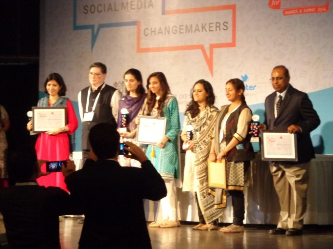 Sharing the stage with other winners in Delhi
