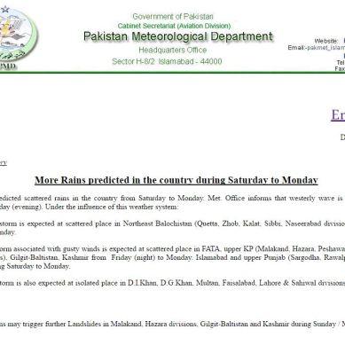 More rains predicted, PakMet releases landslide alert