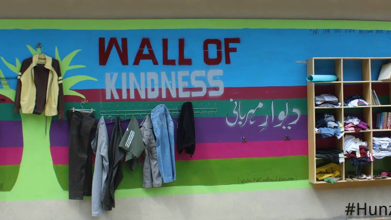 The Wall of Kindness in Hunza where you can also leave books