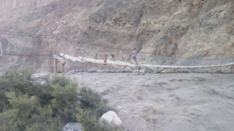 Shimshal River Flood: Bridge destroyed, road damaged, cultivable land affected at several places