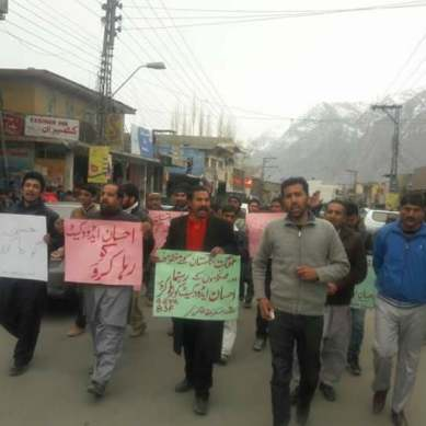 Skardu: Activists and student leaders demand release of Advocate Ehsan Ali