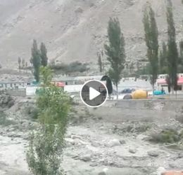 Flood from advancing Shisper glacier damages a portion of KKH in Hasanabad, Hunza