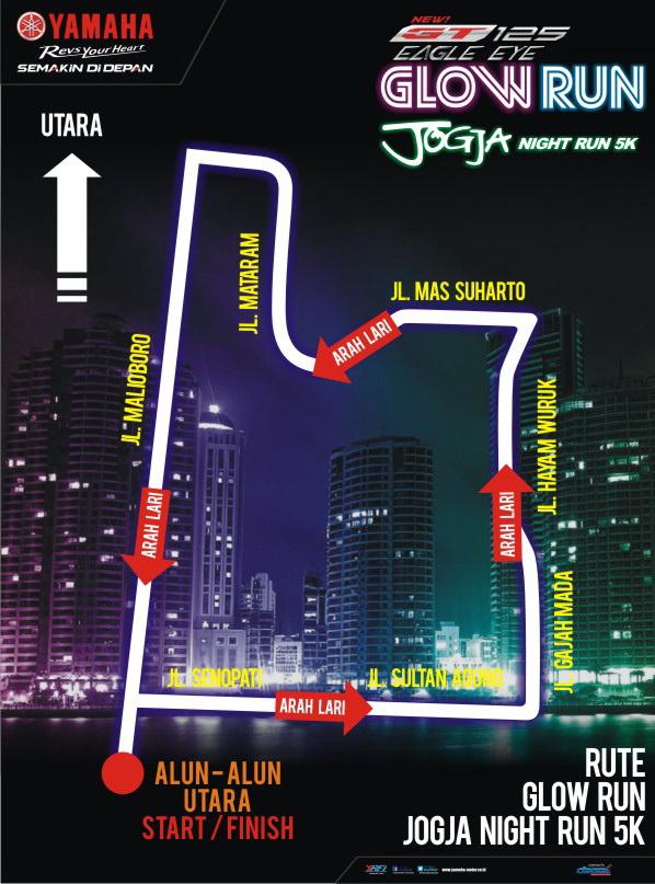 Rute Map Glow Run Jogja