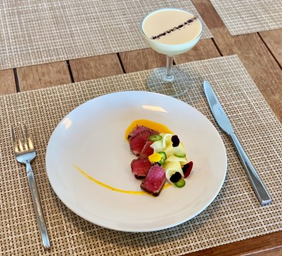 Beatriz Gonzalez Appetizer - Coffee Rubbed Ahi Tuna + Cocktail - Coco Tazo