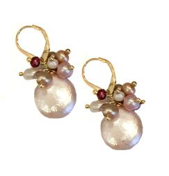 earrings_natural coin pearl clusters