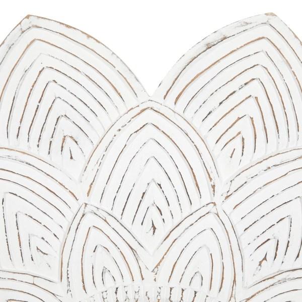 Lotus Flower Wood Wall Mirror