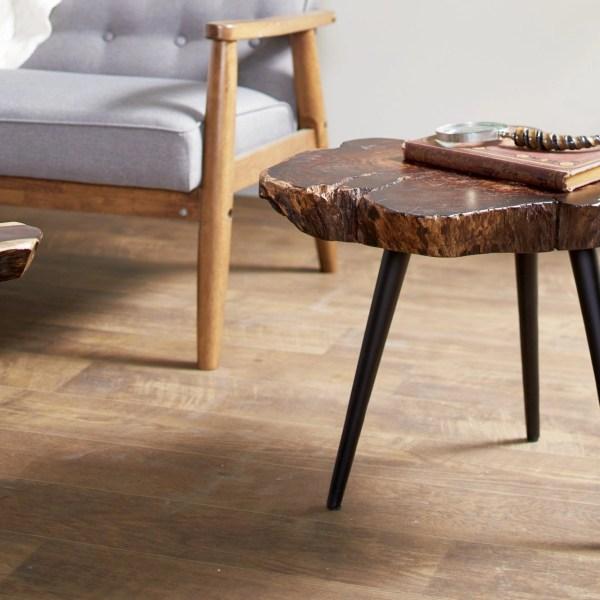 Wood Stump And Metal Side Table