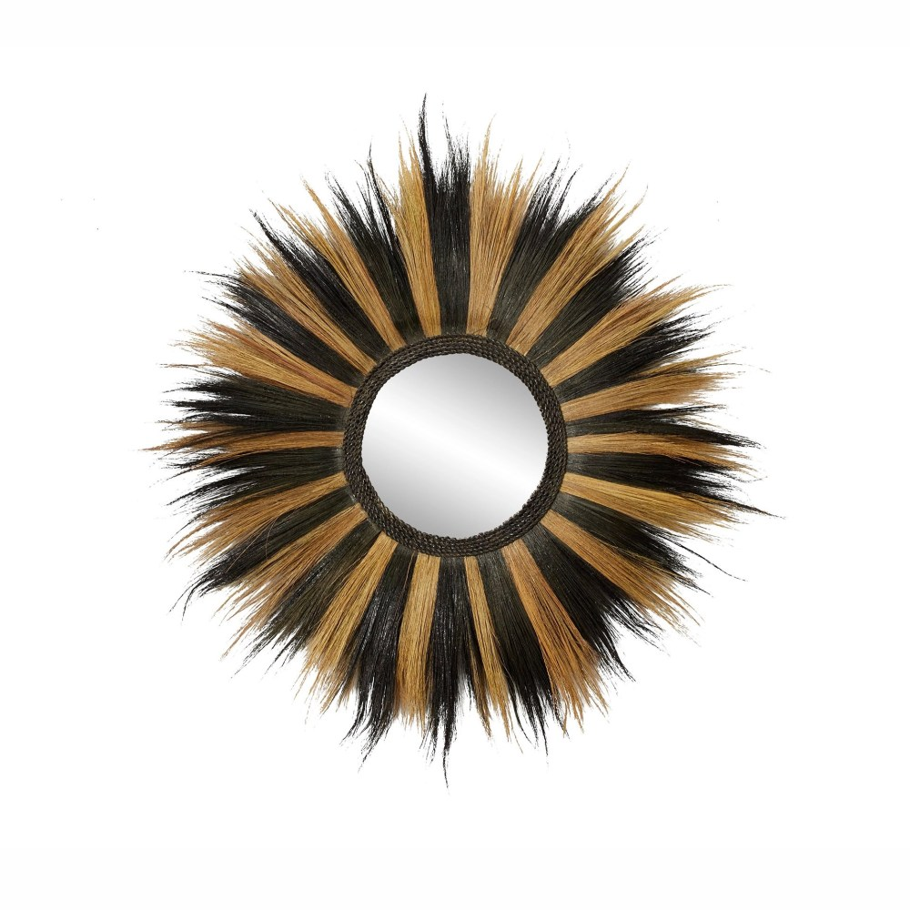 Grass Wall Mirror Black and Brown