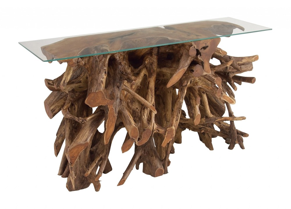 teak wood console with glass table top
