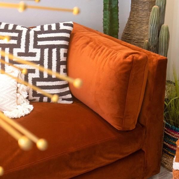 milo sofa rust velvet