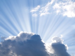 sun beams out of clouds