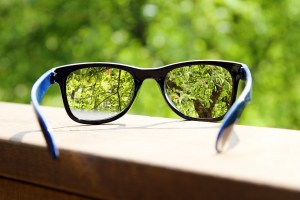 eyeglasses in the hand over blurred green tree background