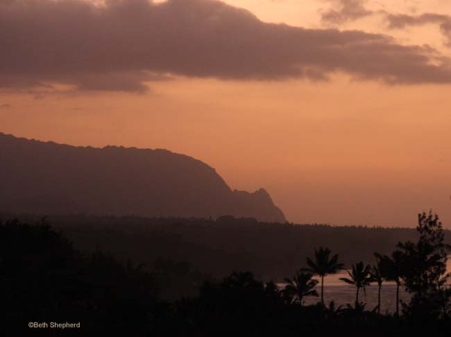 Kilauea Road Kauai sunset