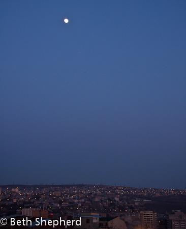 Full moon over Yerevan, Armenia