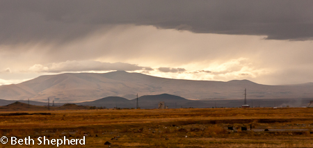 Storm over highway to Gyumri, Armenia