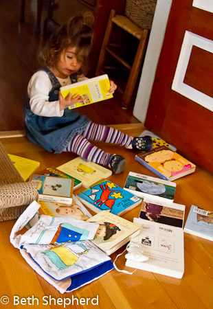 A baby and her books 4