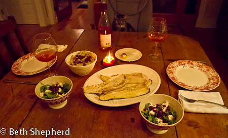 Steelhead trout and Armenian New Year meal