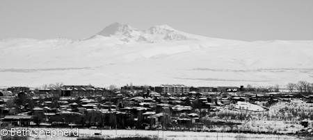 Gyumri Armenia and Mt. Aragats