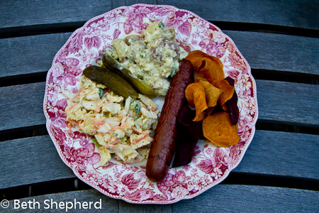 Fennel coleslaw, potato salad, pickles, bison hotdogs and chips