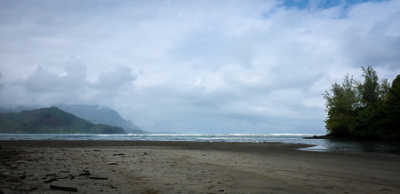 Hanalei Bay at the mouth of the Hanalei River