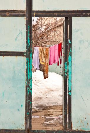 Laundry drying in Gyumri