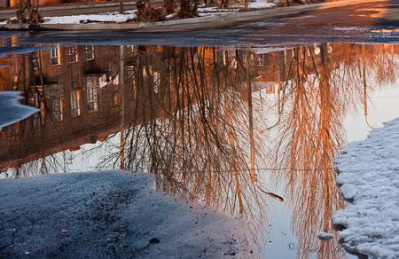 Puddle reflections in Gyumri