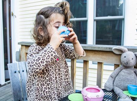 Drinking tea with bunny