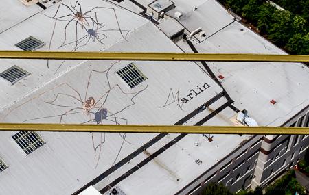 Giant 'spiders' on top of buiilding