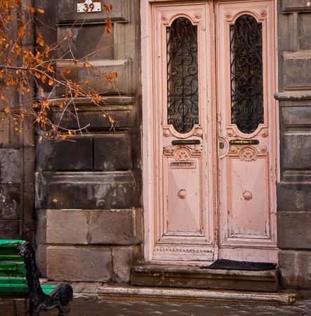 pink doors green bench