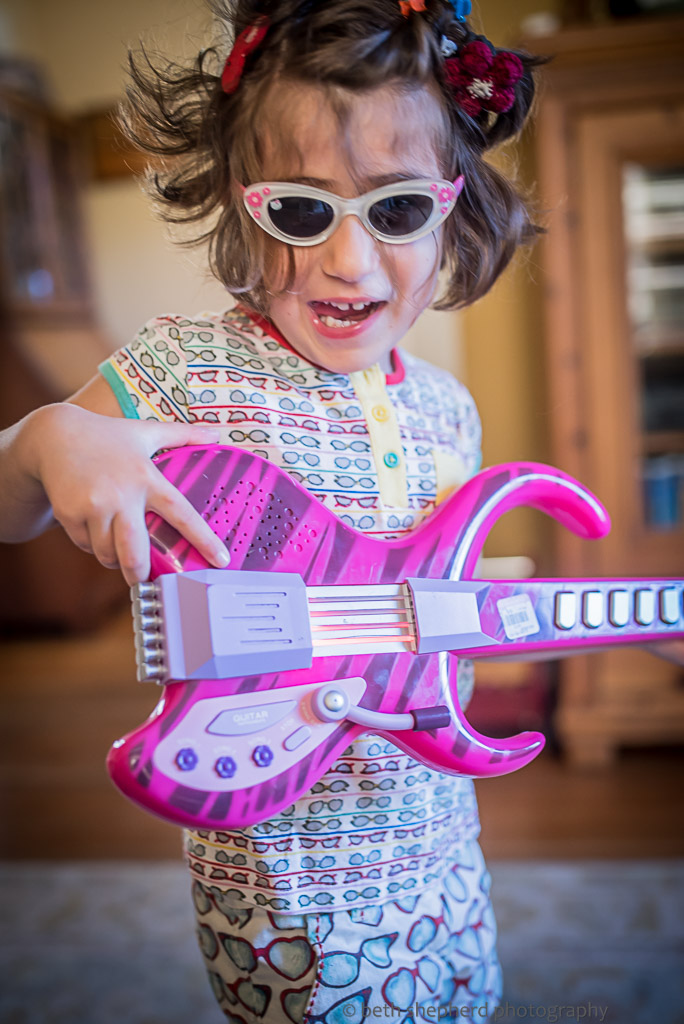 Daughter rocking out