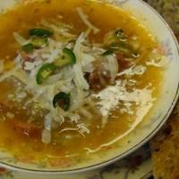 E-Z Onion, Tomatillo & Andouille Soup