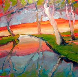 Johnson Creek 6 Reflections by Pam Van Londen, oil on 8x8 Gessobord